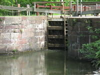 Closed gates holding the water in lock #20