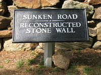 Sign for sunken road and reconstructed stone wall at Fredericksburg Va.