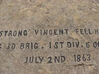 Rock marked as the spot where Strong Vincent fell.  Rock is on west end of Little Round Top.